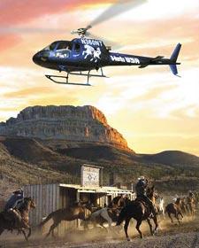 Тур 'Настоящий Дикий Запад' - автобусный тур из Лас-Вегаса в Гранд-Каньон с вертолетной экскурсией над каньоном и посещением исторического ранчо. Grand Canyon Helicopter & Ranch Adventure.